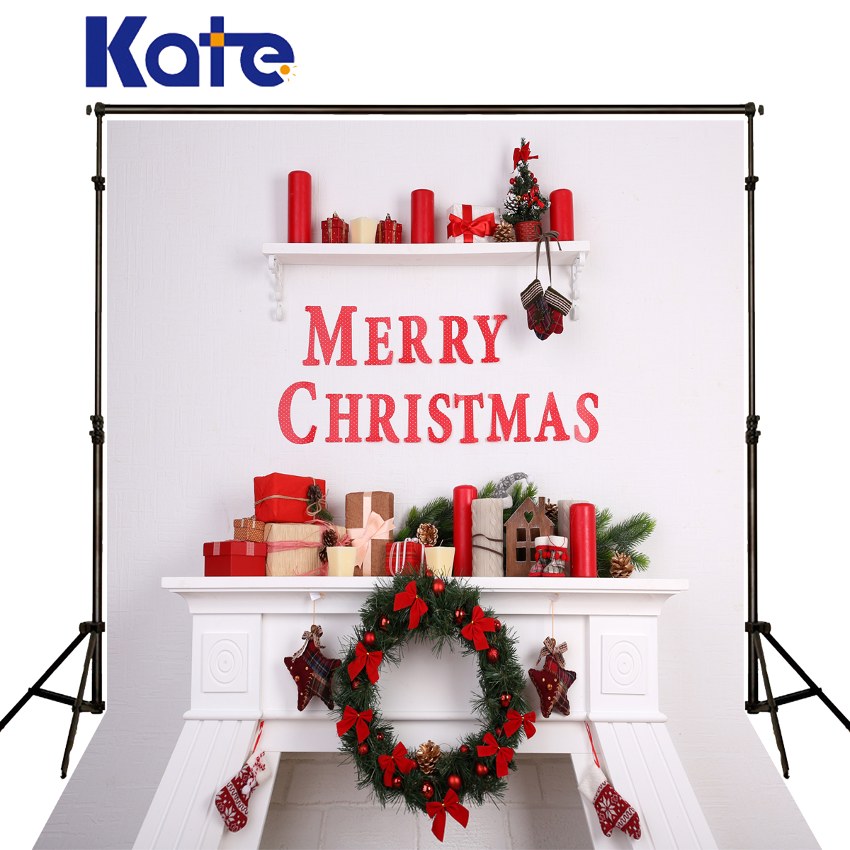 Kate Backgrounds Photography Christmas Red Candle Glove Background Photography Fireplace Stove Bow Fundo Fotografico Natal<br>