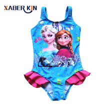 2016 New Girls 3-10Y Swimsuit Elsa & Anna One Piece Children Swimwear Baby Swimsuit Bathing Suit Summer Style For Kids SW901CGR1(China)
