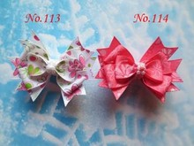 "100pcs wholesales hand customize free shipping BLESSING Good Girl Boutique 3.5"" Snowflake Hair accessories Bow Clip"