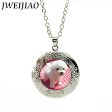 JWEIJIAO Cute White Small Poodle Dog Photo Locket Pendant Necklace Gift For Women Girls 20 different Kinds of Pet Dogs E771(China)