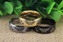 Free Shipping YGK JEWELRY Hot Sales 8MM Satin Center Black/Silver/Golden Bevel Legend of Zelda Tungsten Rings(China)