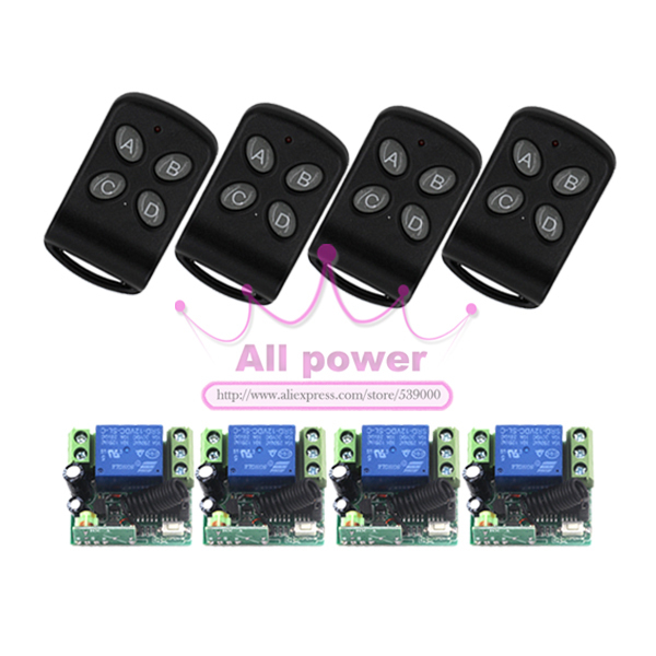 New 12V Signal Channel Fixed Encoding Switch 4pcs + Wireless Remote Control 4pcs Promotion<br>