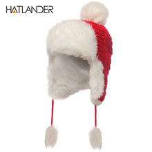 [HATLANDER]2017 Russian Women Bomber Hats Pompom Fleece Earflaps Cap Beanie Outdoor Warm Skullie Female Faux Fur Ball Winter Hat(China)