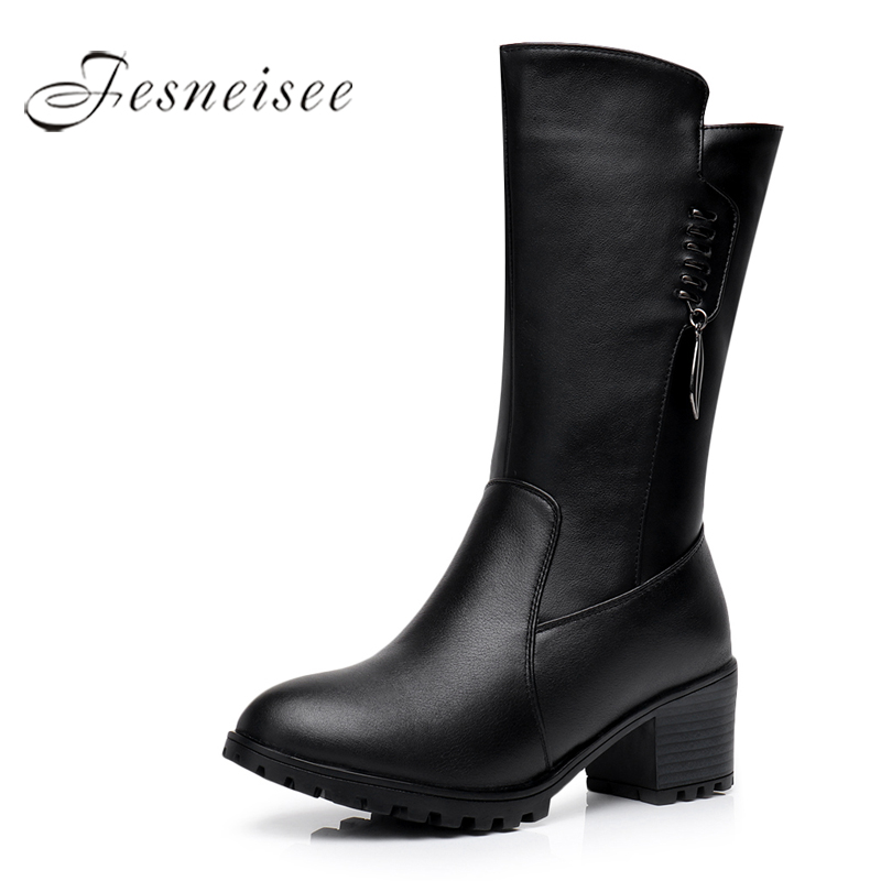 2017 New Winter Mid Calf Boots Woman Boots Genuine Leather Round Toe High Heels Rain Boots High Quality Shoes Size 34-41 M4.0<br>