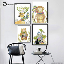 Nordic Art Bear Monkey Elephant Minimalist Art Canvas Poster Painting Cartoon Nursery Wall Picture Children Room Decoration C400