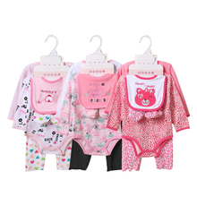 Buy 5 Pieces Baby set New Born Baby Set Baby Girls Boys Cotton Clothes Infant Clothing Suits Baby Bibs+bodysuits +pants+socks Suit for $14.04 in AliExpress store