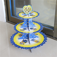 cupcake stand 1pcs minions 3-tier cake stand cupcake holder kids birthday party supplies baby shower party favor decoration