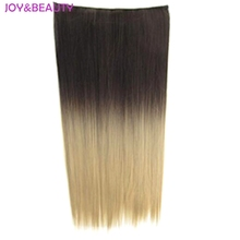 JOY&BEAUTY Long Straight Hair Ombre Two-Tone Hairpiece Synthetic Clip In Hair Extension Heat Resistant Hair 24inch
