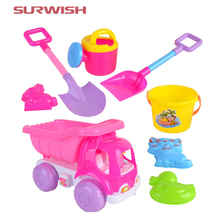 Surwish 8Pcs Beach Sand Toy Set Beach Buggy Shovels Watering Can Children Safety Plastic Toys - Color Random(China)