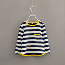 V-TREE Spring autumn long sleeve t-shirt for girls stripe boys shirts children tops children's sweatshirts baby clothing tees(China)