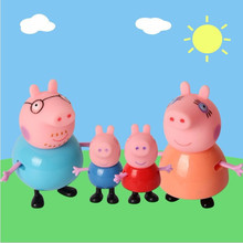 bela 4pcs pig Toys PVC Action Figures Family Member Juguetes Baby Kid pig Toy Birthday Gift Christmas gift
