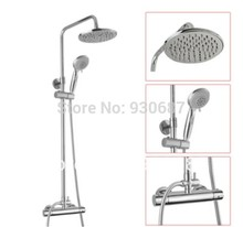 Fashion Wall Mounted Shower Tap Chrome Polished Brass Thermostatic Bath & Shower Faucet Mixer Tap ABS Plastic Top Head