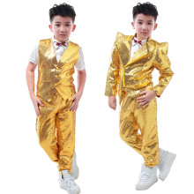 New arrivals fashion casual Children's stage wear clothes set child gold sequins slim for children Hip-hop singer dj costumes