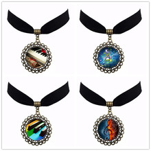 Drop Shipping Art Glass Black Chokers Music Pendant G-Clef Necklace Music Note Women Vintage Choker Bronze Vintage Jewelry