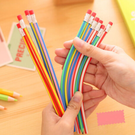 Funny Kid Skill Training Drawing Pencil Soft Flexible Bendy Pencil With Eraser Kid Child Toy Gifts