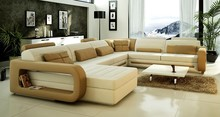 U-shape genuine leather sofa living room sectional sofa furnitures A1135