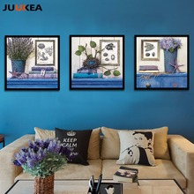 4 Pcs Mediterranean Vintage Style Canvas Art Print Painting Poster, Blue Plants Flowers Wall Picture For Living Room, Home Decor