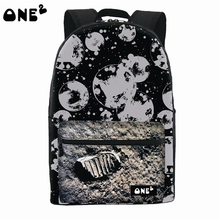 ONE2 Design explore moon black school bag nylon polyester laptop backpack high school students teenager man women boys girls