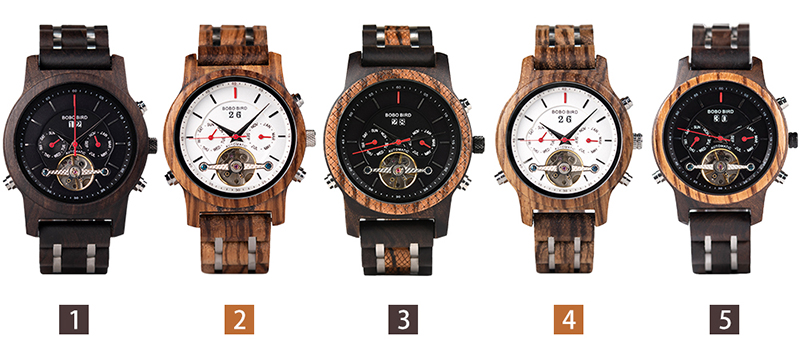 BOBO BIRD Automatic Mechanical Watches Men Wooden Luxury Watch with Calendar Display Multifuctions relogios automaticos mecanic 11