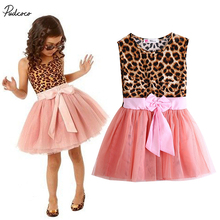 2017 hot Kids Baby Girls summer Clothes Ruffle Leopard Shirt Tulle Tutu Party Dress(China)