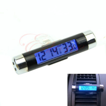 Practical 2in1 Car LCD Clip-on Digital Backlight Automotive Thermometer Clock #28873#