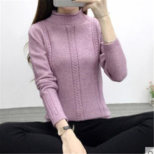 Women Half-height Collar Twisted Flowers Sweater 2017 Winter New Fashion Pullovers Soft Warm Cashmere Women Wool Knitted Sweater