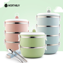 Buy WORTHBUY Japanese Stainless Steel Kids Lunch Box Compartments Food Container Children Bento Box Portable School Picnic Set for $9.99 in AliExpress store