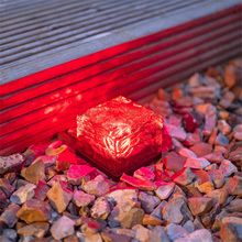 Waterproof Solar Path Ice Cube Rocks LED Frosted Glass Brick Paver Garden In-groud Buried Light for Path Road Square Yard