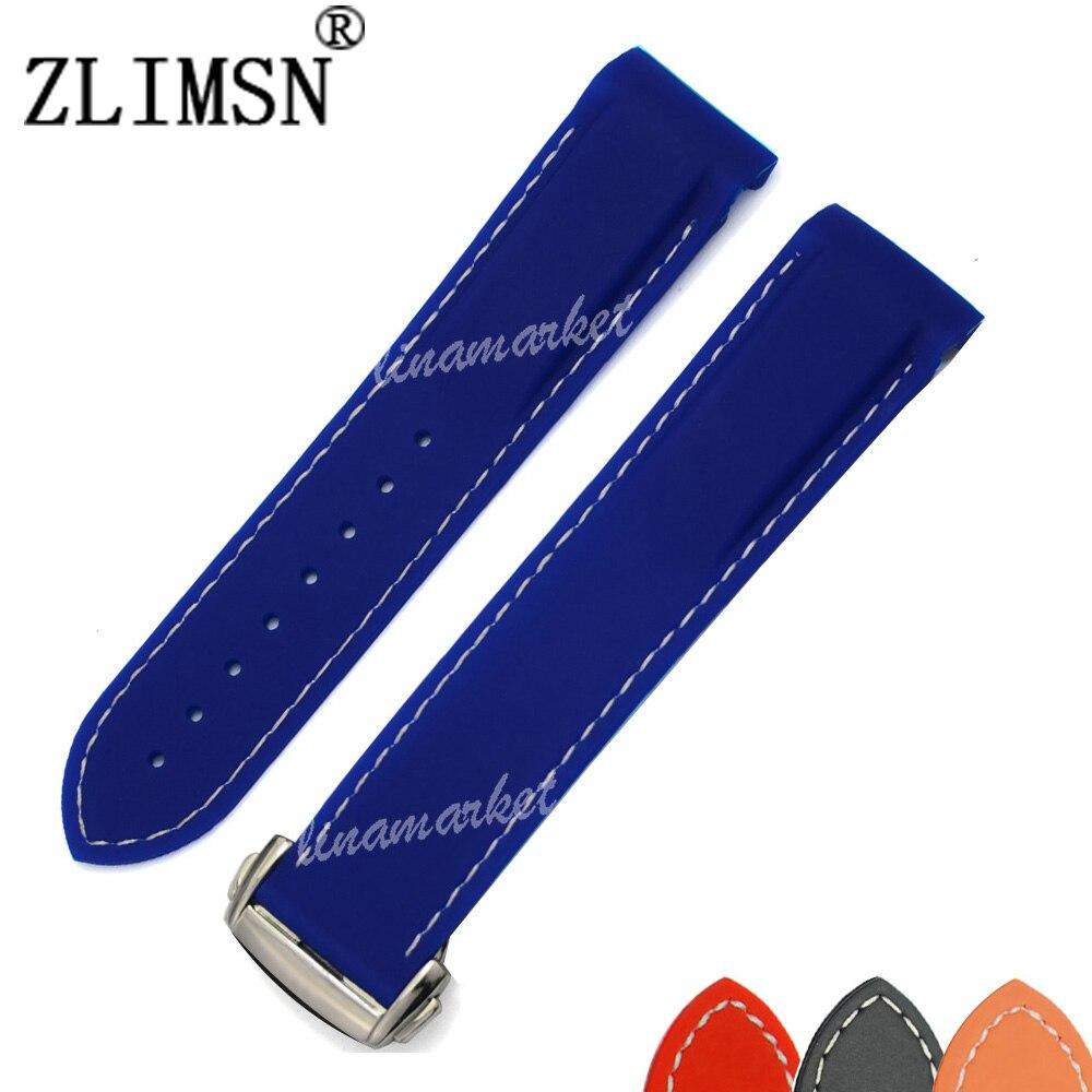 Men Women Watchbands Silver Black Brown Gold Orange Waterproof Diving Silicone Rubber Watchband Straps Sport Silver Buckle 22mm<br><br>Aliexpress