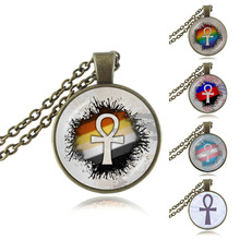 Ankh Cross Pendant Symbol of Life Ancient Egyptian Necklace Religious Jewelry Glass Cabochon Sweater Necklace Fashion Accessory