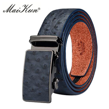 leather Belts & Cummerbunds belts for men high quality Ostrich Grain Cowskin Automatic Buckle Belt(China)