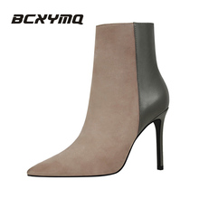 BCXYMQ 126-1 warm fur fashion women boots high heels 12 ankle boots sexy winter boots Pointed Toe women shoes(China)
