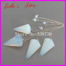 5pcs Opal Opaline Point Pendulum Dowsing Crystal Point Pendant with Chain Healing Chakra Reiki Pendant Pendulum