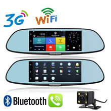 New 7 inch 3G WiFi Mirror GPS Android 5.0 DVR FHD 1080P Bluetooth Phone Dual Lens Video Recorder Rear View Camera Google GPS DVR