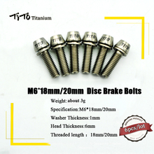 6pcs Titanium Ti Disc Brake Bolts Screw Upgrade Kit Hexagon Socket Tapper Head M6*18 M6*20mm(China)