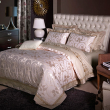 luxuries jacquard bedlinens set Queen King Size Duvet cover bedsheet pillowcase 4pcs Bedding sets Silk and Cotton Fabric(China)