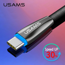 Type C USB Cable USAMS Auto Change Lights Type-C Cable Samsung Xiaomi Oneplus Smart USB-C Charger Data Sync Charging Cable