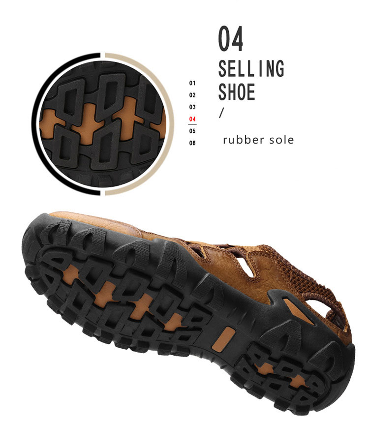 BACKCAMEL 2018 Summer New Sandals for Men Fashion Baotou Beach Slipper Sandals First Layer Leather Wear Casual Men's Shoes Hot 13 Online shopping Bangladesh