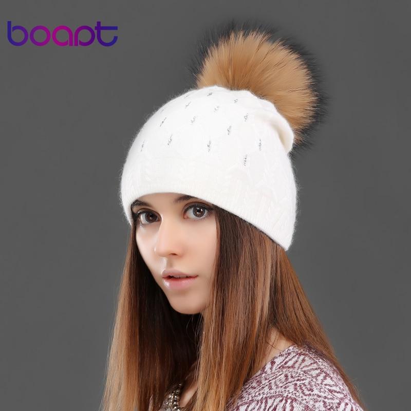 BOAPT knited rabbit double-deck warm diamond crystal hat for womens winter cap female hats genuine raccoon fur pom pom beaniesОдежда и ак�е��уары<br><br><br>Aliexpress