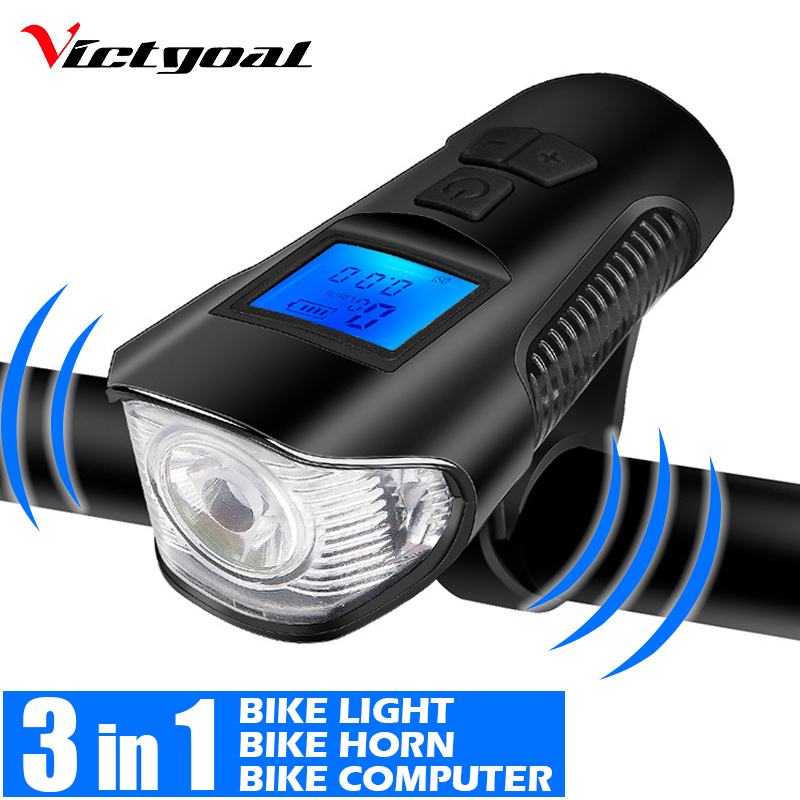 Rechargeable USB LED Bicycle Headlight Bike Tail Light Front Lamp Cycling Horn