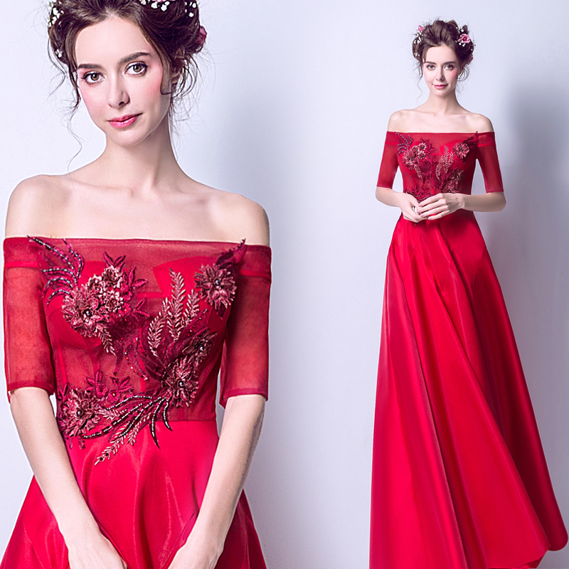 Backlakegirls Vintage Taffeta Long Evening Dress Elegant Boat Neck Embroidery Red Flowers Pearls Crystal Evening Gowns 2018 Hot