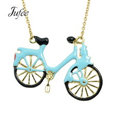 Jufee Cute Lovely Gold-Color Link Chain With Blue Black Color Enamel Bicycle Pendant Necklace Accessories Jewelry for Women