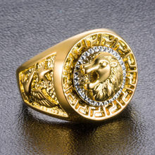 2019 New Arrival Charm Gold Color Classic Men's Style Punk Hip Hop Ring Cool Lion Head Animal Ring Fashion Fine Jewelry R155(China)