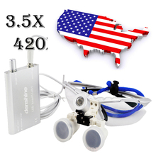 Shipping From USA 3.5X420mm SY-32 Surgical Medical Binocular Loupes Optical Glass Silver + LED head light