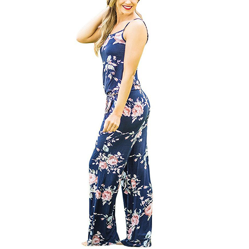 Spaghetti Strap Jumpsuit Women 2018 Summer Long Pants Floral Print Rompers Beach Casual Jumpsuits Sleeveless Sashes Playsuits 21