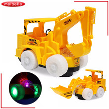 Omni Direction Toy Excavator Bulldozer With Flashing Wheel Front Toy Truck With Removable Digging Bucket(China)
