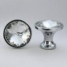 25MM 30MM Modern simple silver gold kitchen cabinet cupboard door handles clear Bauhinia flower glass crystal drawer knobs pulls(China)