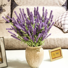 12 Heads Artificial Lavender Flowers Leaves Bouquet Home Wedding Garden DIY Decor Color:Dark Purple