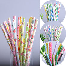 50pc/lot Flower 4style Vintage Retro Floral Paper Straws Biodegradable Drinking Paper Straws for Kids Birthday Party Wedding