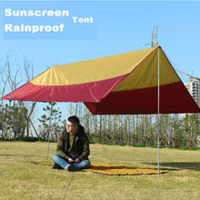 Outdoor Awning Canopy Tent Rain Sun shelter Tarp 300*300cm 4-6 Person Sun Shade Beach Roof Tent Sun Awning Camping Equipment
